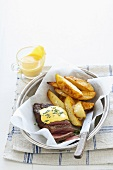 Beef fillet with Bearnaise sauce and potato wedges