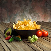 Bowl of Tortilla Chips with Southwestern Ingredients