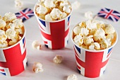 Popcorn in Union Jack buckets