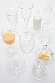 Various types of glass tableware (lemon press, cheese dome, butter dish, etc)