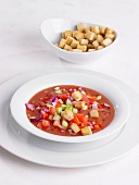Gazpacho with croutons in a soup bowl