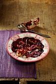 Beetroot carpaccio with pomegranate seeds (Ayurvedic cuisine)
