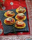 Polenta cakes with pumpkin, tomato and mozzarella (Ayurvedic cuisine)