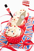 English cupcakes decorated with Big Ben, a guard and a double-decker bus