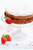 Sponge cake filled with strawberry jam