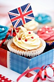 Cupcakes with a Union Jack and sugar beads