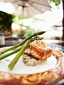Pan Seared Salmon Topped with Crab Imperial Over Red Skinned Mashed Potatoes and Asparagus