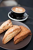 Pumpkin, Lemon, and Honey Pecan Scones; Cappuccino
