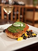 Grilled Salmon with Cilantro Aioli Over Chipotle and Mango Black Beans