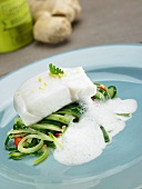 Cod fillet on a cucumber medley