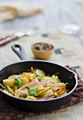 Stir-fried vegetables with green bananas (Caribbean)