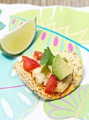 Tortilla chips with warm cheese sauce, avocado and tomatoes