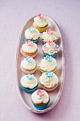 Cupcakes on an oval plate