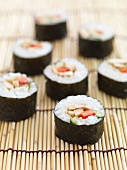 Maki sushi on a bamboo mat