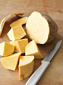 Sweet potatoes, partially sliced