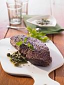 Beef steak with salsa verde