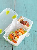 Carrot kebabs in a school lunchbox