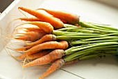 A Bunch of Organic Baby Carrots with Stems