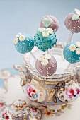 Cake pops in an old-fashioned bowl