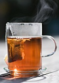 Teabag steeping in mug