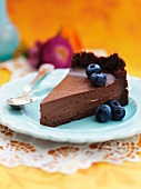 Chocolate mousse tart with blueberries