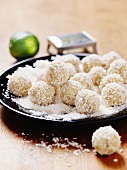 White chocolate truffles with coconut and limes