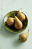 Pears in a ceramic bowl