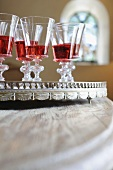 Five glasses of red wine on tray