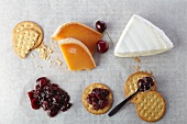 Assorted Cheese, Crackers and Cherry Compote