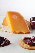 Cherry Compote on a Cracker with Cheddar Cheese