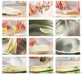 White asparagus being prepared
