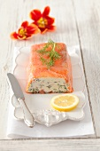 Cream cheese terrine with dill and smoked salmon