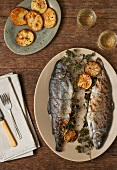 Grilled Trout Stuffed with Lemon and Parsley on a Platter; Oven Roasted Potatoes and White Wine