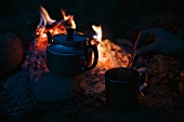 A tea cup and a teapot by a camp fire
