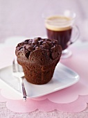 Chocolate muffin and coffee