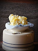 Freshly Churned Butter in a Blue Gingham Lined Bowl