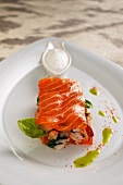 Salmon and lobster sandwich with white tomato foam