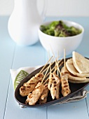 Greek chicken kebabs with unleavened bread