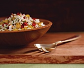 Bowl of Orzo Salad with Bell Peppers, Feta Cheese and Mint