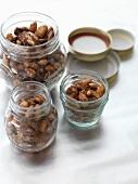 Spiced nuts in storage jars