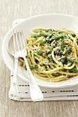Pasta ai fagiolini (spaghetti with green beans, Italy)