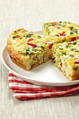 Frittata veneta (omelette with pasta, sweetcorn, peas and pepper)