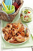 Roast chicken wings with vegetables salad
