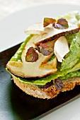 A slice of bread topped with chicken, porcini mushrooms and parsley butter