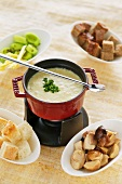 Cheese fondue with porcini mushrooms, breed and leek
