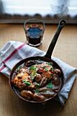Coq Au Vin in a frying pan