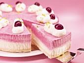 Blueberry cream cake, sliced
