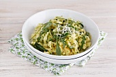 Corn tagliatelle with rocket pesto