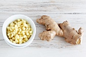 Chopped ginger and ginger root