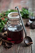 Mulled wine in a preserving jar